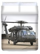 A Uh-60 Black Hawk Taxis Duvet Cover by Terry Moore