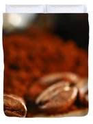 Coffee Beans And Ground Coffee Duvet Cover by Elena Elisseeva