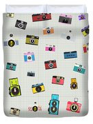 Retro Camera Pattern Duvet Cover by Setsiri Silapasuwanchai
