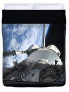 Space Shuttle Discovery Backdropped Duvet Cover by Stocktrek Images