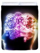 brain design by cogs and gears Duvet Cover by Setsiri Silapasuwanchai