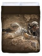 U.s. Army Rangers In Afghanistan Combat Duvet Cover by Tom Weber