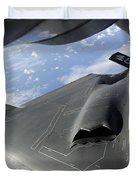 A B-2 Spirit Receives Fuel Duvet Cover by Stocktrek Images
