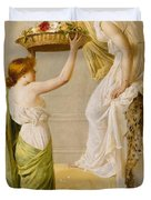 A Basket of Roses - Grecian Girls Duvet Cover by Henry Thomas Schaefer