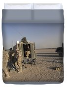 A Control Center For The Howitzer 105mm Duvet Cover by Andrew Chittock