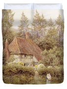 A Cottage Near Haslemere Duvet Cover by Helen Allingham