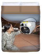 A Crew Chief Works On Mq-9 Reapers Duvet Cover by HIGH-G Productions