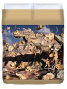 A Fossilized T. Rex Bursts To Life Duvet Cover by Mark Stevenson
