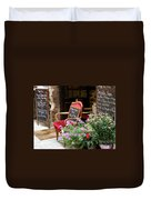 A French Restaurant Greeting Duvet Cover by Lainie Wrightson