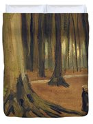 A Girl in a Wood Duvet Cover by Vincent van Gogh