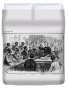 A Jury Of Whites And Blacks Duvet Cover by Photo Researchers