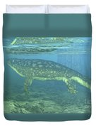 A Late Devonian Period Ichthyostega Duvet Cover by Walter Myers