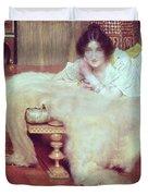 A Listener - The Bear Rug Duvet Cover by Sir Lawrence Alma-Tadema