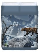 A Lone Sabre-toothed Tiger In A Cold Duvet Cover by Mark Stevenson