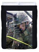 A Marine Communicates Over The Radio Duvet Cover by Stocktrek Images
