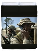 A Marine Communicates With Aircraft Duvet Cover by Stocktrek Images