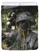 A Marine Splashes As He Makes His Way Duvet Cover by Stocktrek Images