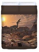 A Pack Of Carnivorous Velociraptors Duvet Cover by Mark Stevenson