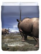 A Pair Of Male Elasmotherium Confront Duvet Cover by Walter Myers