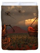 A Pair Of P-51 Mustang Fighter Planes Duvet Cover by Mark Stevenson