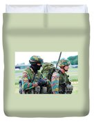 A Radio Operator And Members Duvet Cover by Luc De Jaeger