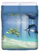 A Sailfish Hunts Prey On A Sandy Reef Duvet Cover by Corey Ford