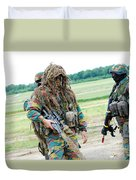 A Sniper Of The Belgian Army Together Duvet Cover by Luc De Jaeger