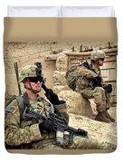 A Soldier Calls In Description Duvet Cover by Stocktrek Images