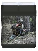 A Soldier Communicates His Position Duvet Cover by Stocktrek Images