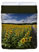 A Sunny Sunflower Day Duvet Cover by Debra and Dave Vanderlaan