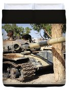 A T-72 Tank Destroyed By Nato Forces Duvet Cover by Andrew Chittock