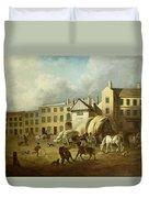A Town Scene  Duvet Cover by George Garrard