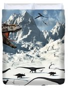 A  Tyrannosaurus Rex Stalks A Mixed Duvet Cover by Mark Stevenson