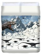 A  Tyrannosaurus Rex Stalks A Mixed Duvet Cover by Mark Stevenson