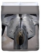 A U.s. Air Force F-22 Raptor Duvet Cover by Stocktrek Images