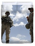 A U.s. Army Soldier Communicates Duvet Cover by Stocktrek Images