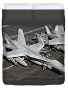 A Us Navy Fa-18c Hornet Parked Duvet Cover by Giovanni Colla
