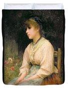 A Venetian Flower Girl Duvet Cover by Sir Samuel Luke Fildes
