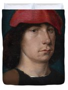 A Young Man in a Red Cap Duvet Cover by Michiel Sittow