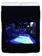 Air Traffic Controller Stands Watch Duvet Cover by Stocktrek Images