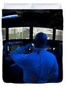 Air Traffic Controller Watches Duvet Cover by Stocktrek Images