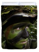 Airman Conceals Himself By Blending Duvet Cover by Stocktrek Images