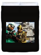 Airman Receives Proper Fire Fighting Duvet Cover by Stocktrek Images