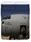Airmen Board A C-130j Hercules At Dyess Duvet Cover by Stocktrek Images