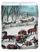 American Winter 1870 Duvet Cover by Photo Researchers