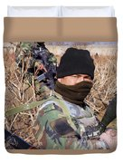 An Afghan Commando On Patrol Duvet Cover by Stocktrek Images