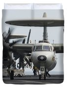 An E-2c Hawkeye Aircraft On The Flight Duvet Cover by Stocktrek Images