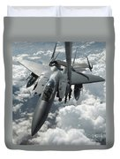 An F-15 E Strike Eagle Receives Fuel Duvet Cover by Stocktrek Images