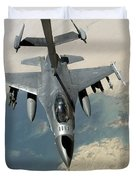 An F-16 Fighting Falcon Refuels Duvet Cover by Stocktrek Images