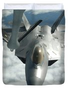 An F-22a Raptor Refuels With A Kc-135 Duvet Cover by Stocktrek Images